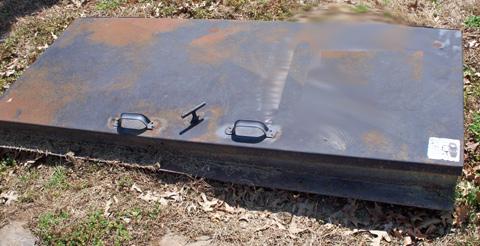 Steel Shelter Door, Rusting Door, Failing Tornado Shelter Door, Tornado Shelter  Door Rusting